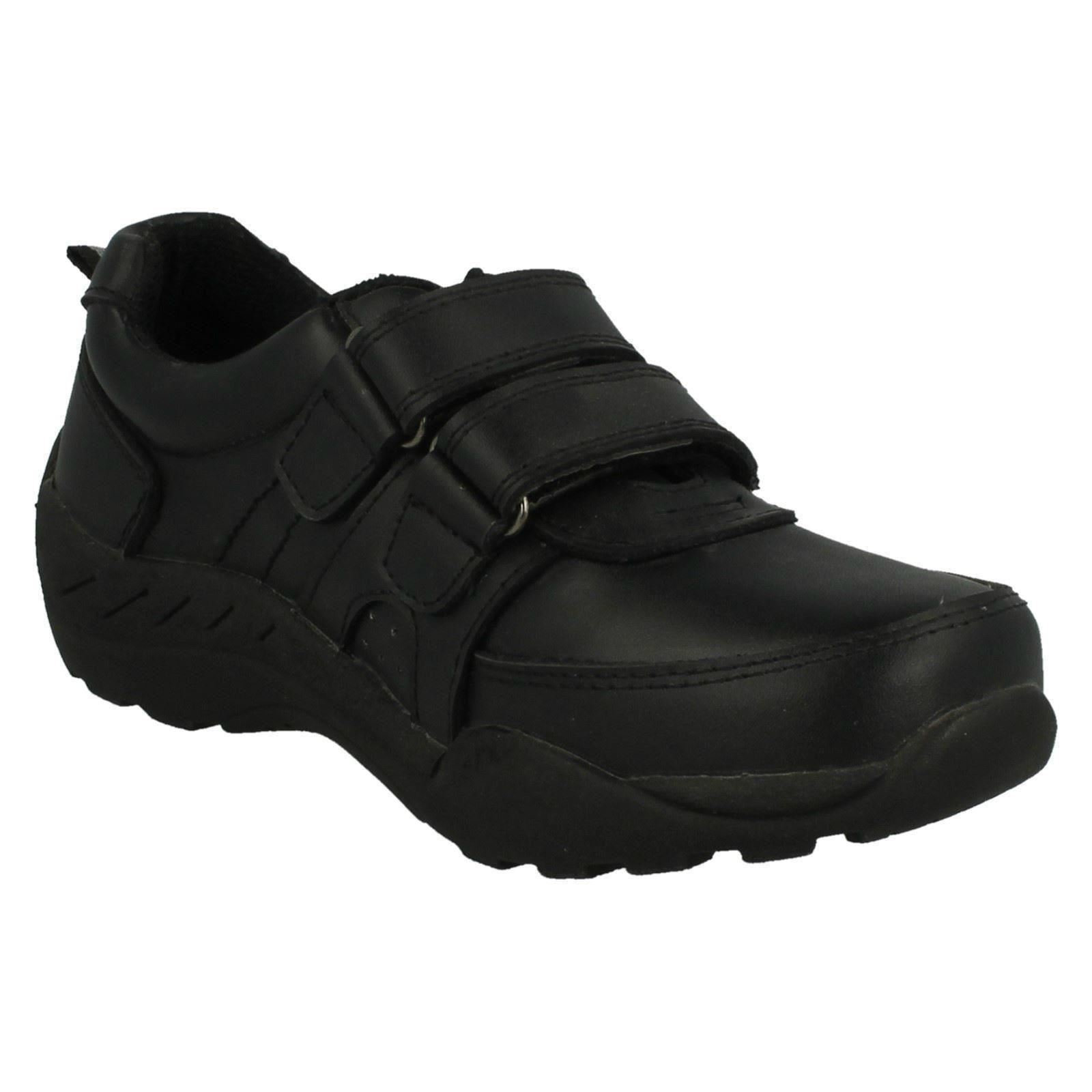Boys Red Tag Double Strap Leather School Shoes