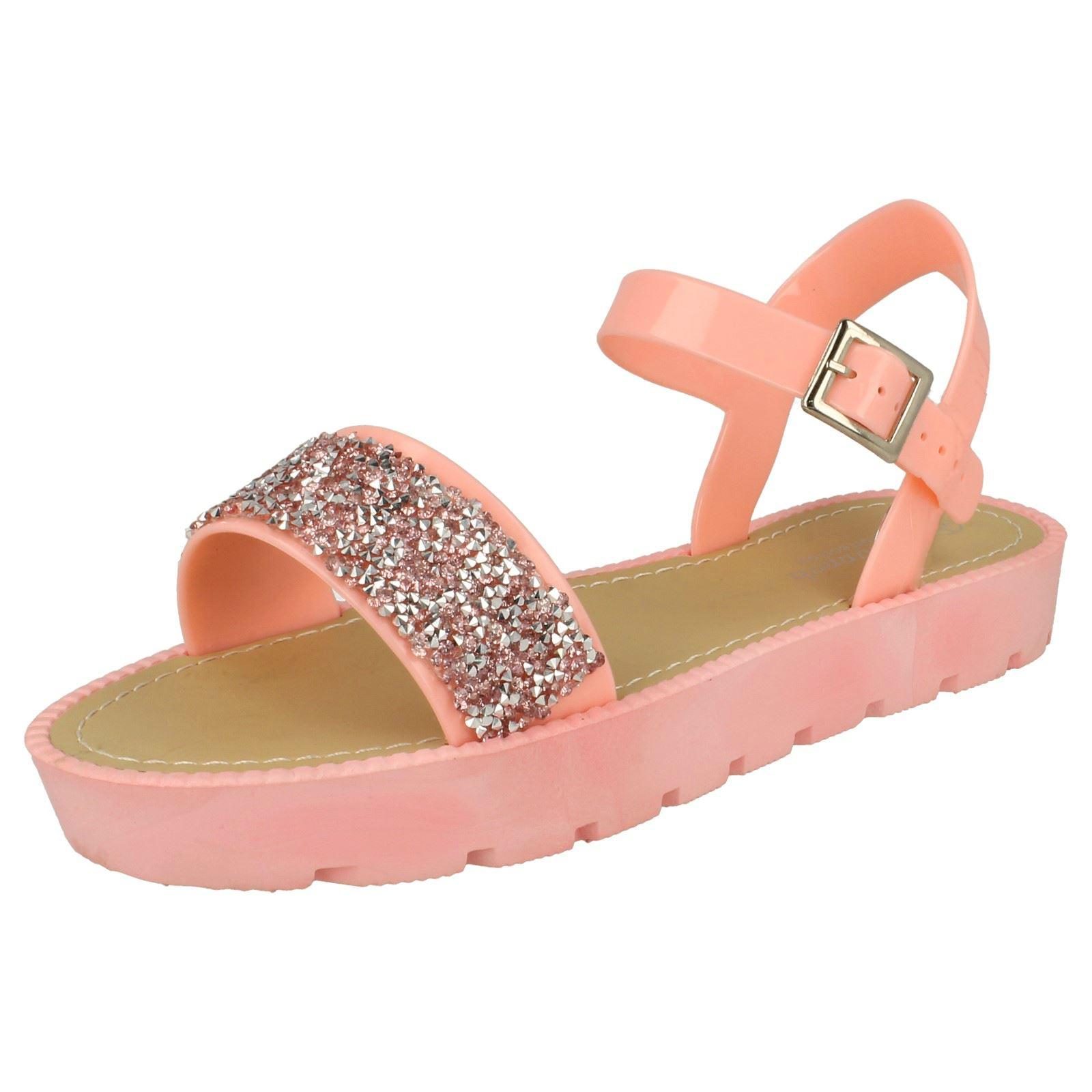 57443bab7dd Savannah Ladies Glitter Flatform Sandals Pink UK 5 Standard