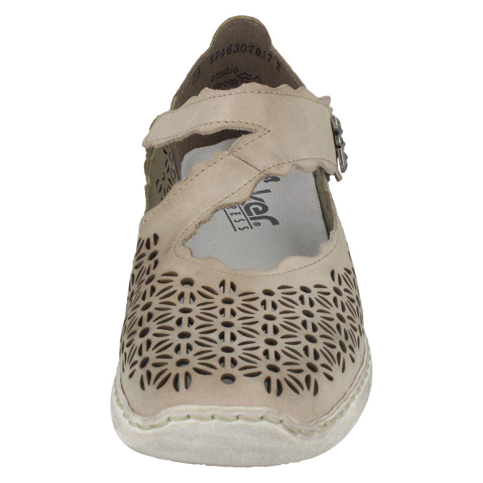 Détails sur Femmes Rieker Joli Design Fleur Crochet et Boucle Chaussures Cuir Décontracté