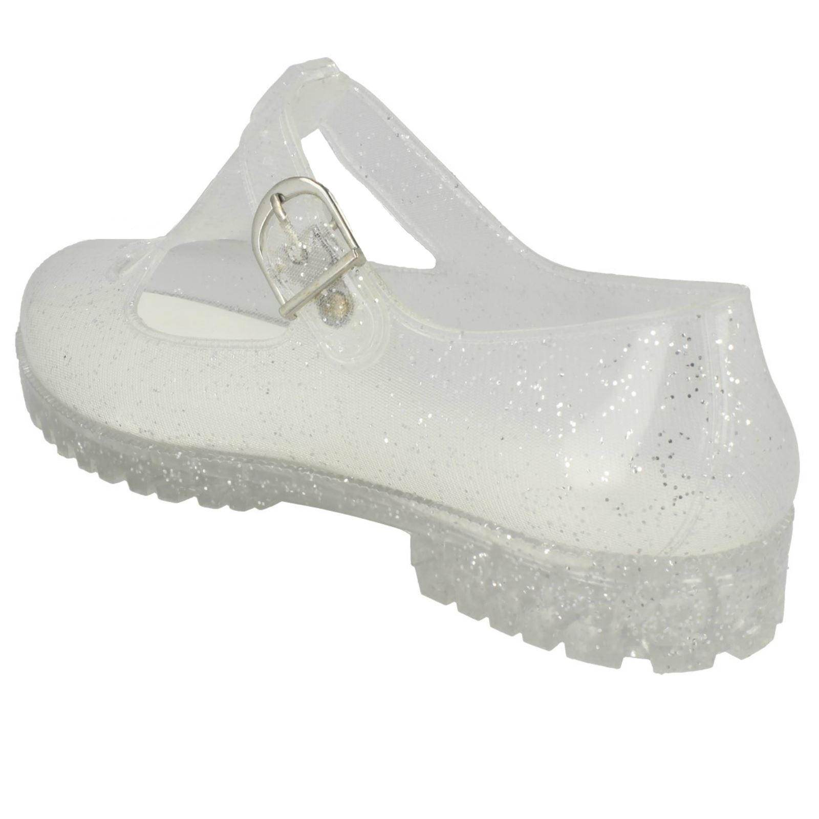 Ladies Spot on T-Bar Jelly Shoe with Flower Detail