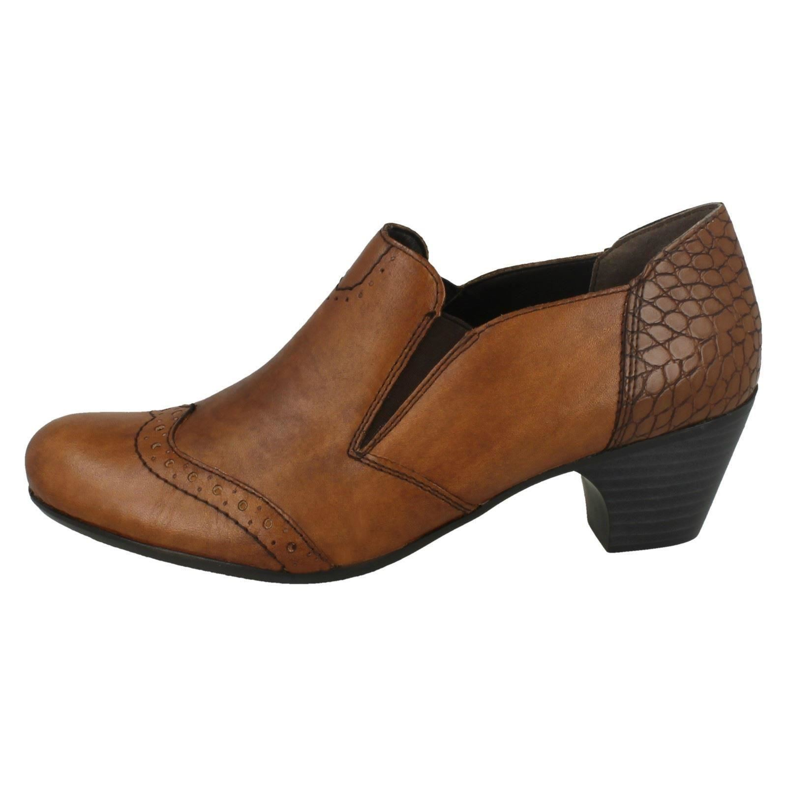 Ladies Shoes Rieker Brown '50563' With Heeled Detailing Brogue rSr6nxv