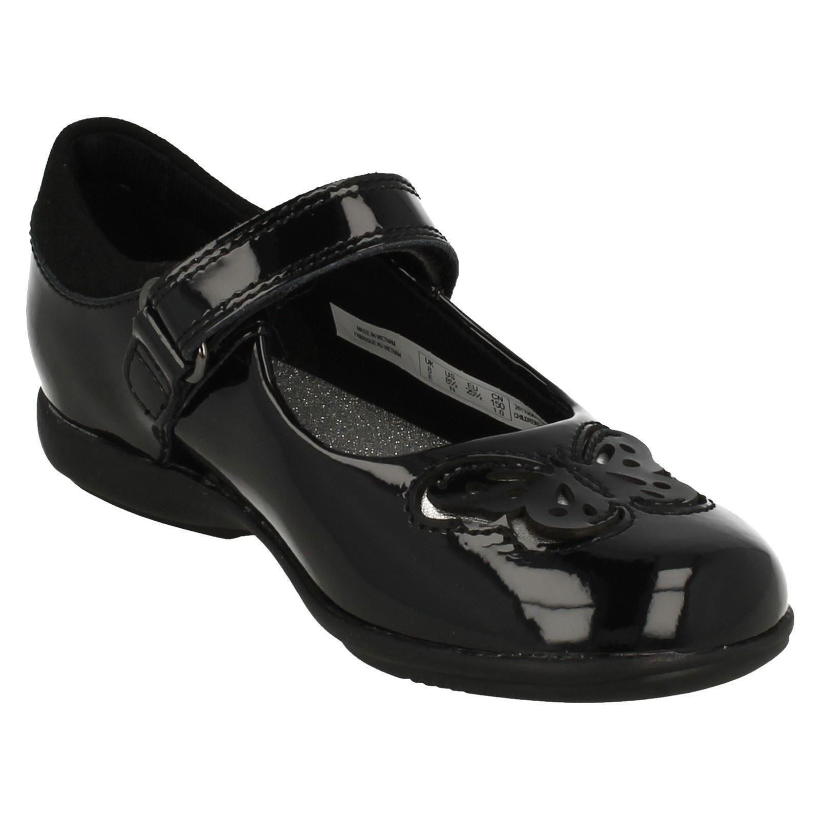 Chicas Clarks Luces en Hook & Loop Escuela De Cuero Zapatos Trixi Rose