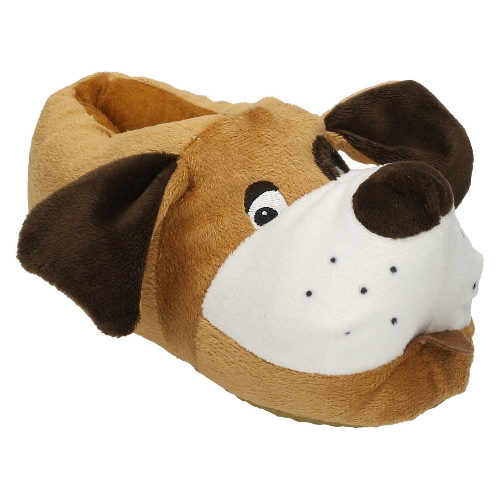 Unisex Junior Spot On Flat Novelty Dog Slippers X2073