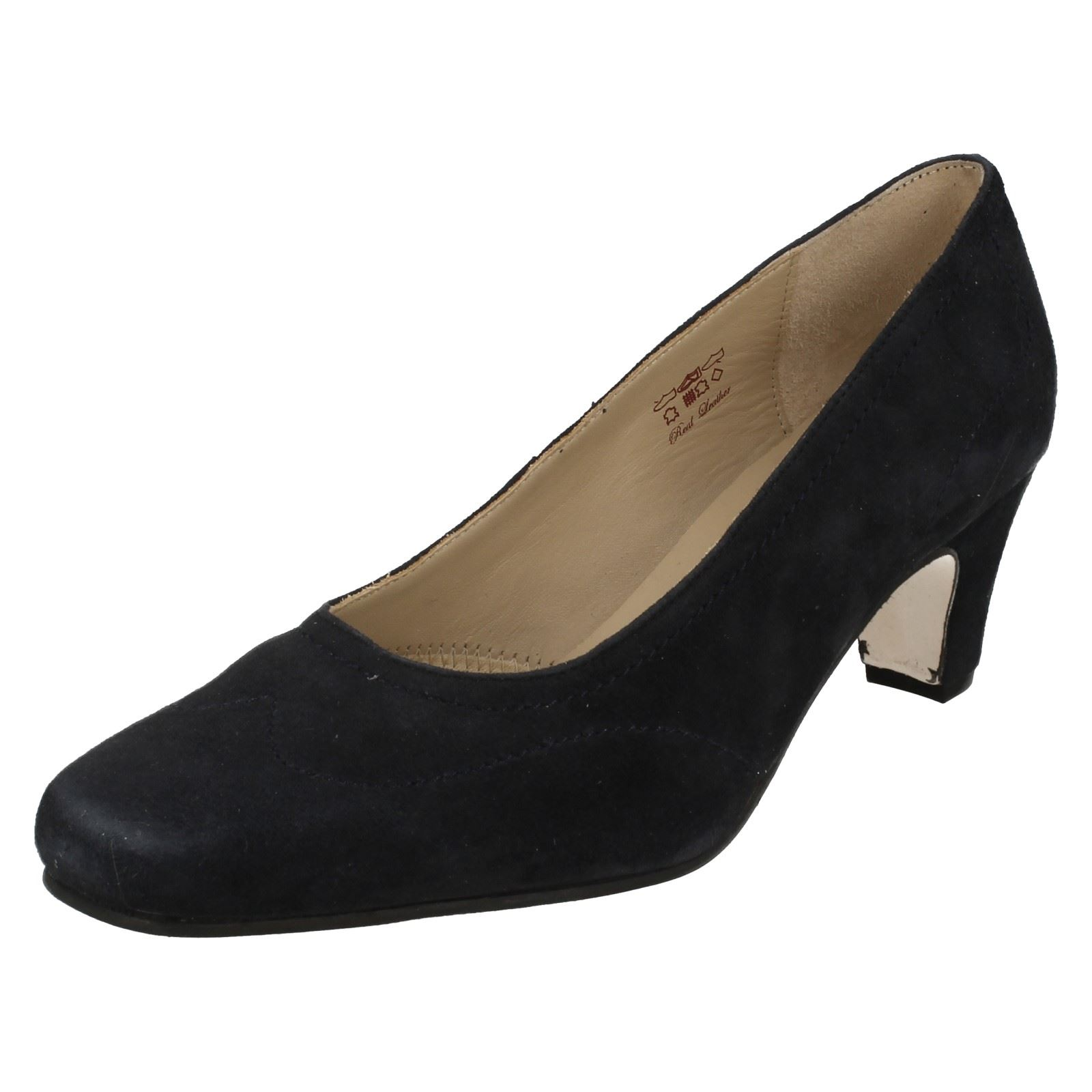 7ec6b5a4c Ladies Equity Wide Fitting Court Shoes Alison Navy Suede 5 UK E. About this  product. Picture 1 of 10  Picture 2 of 10 ...