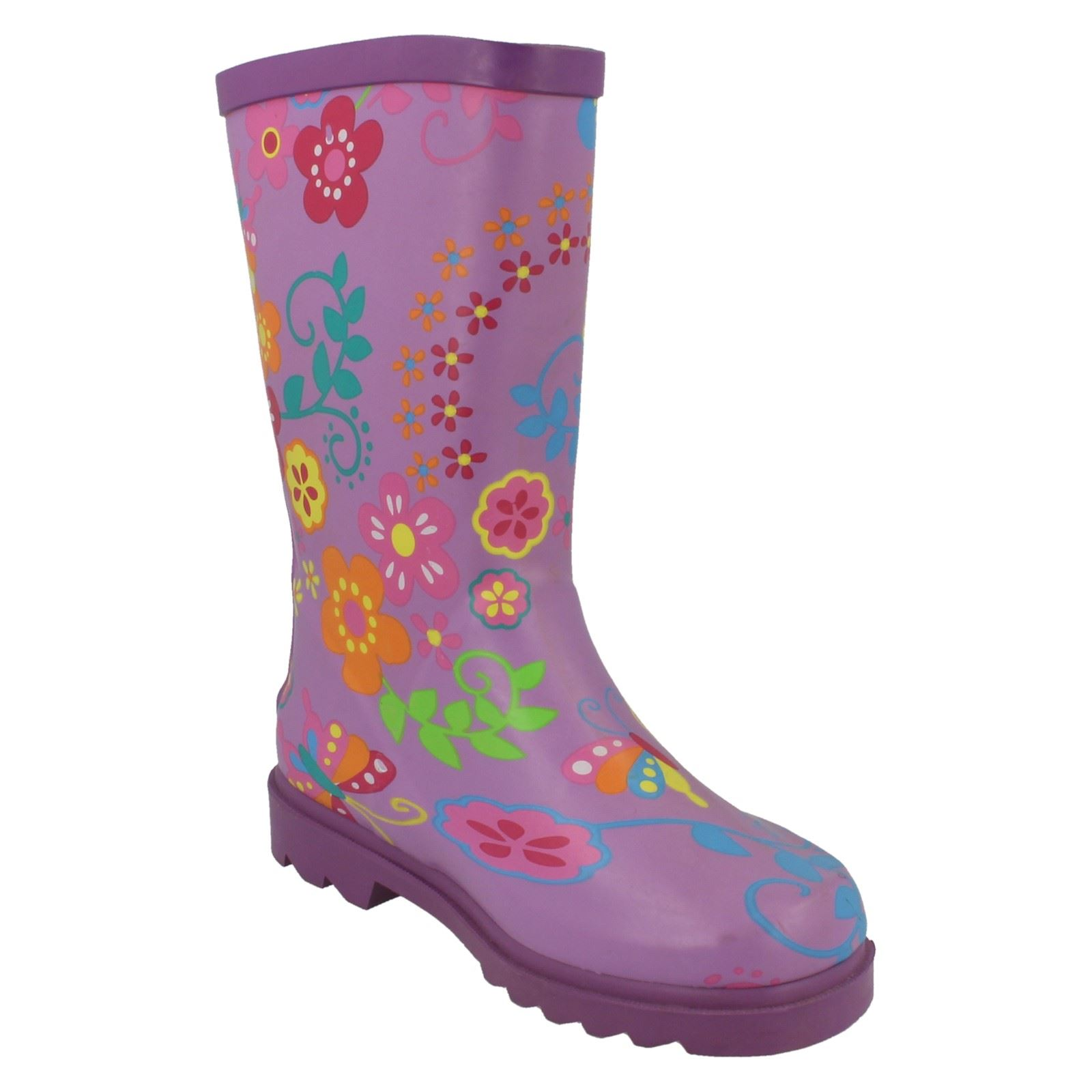 Girls Spot On Flower Print Boot