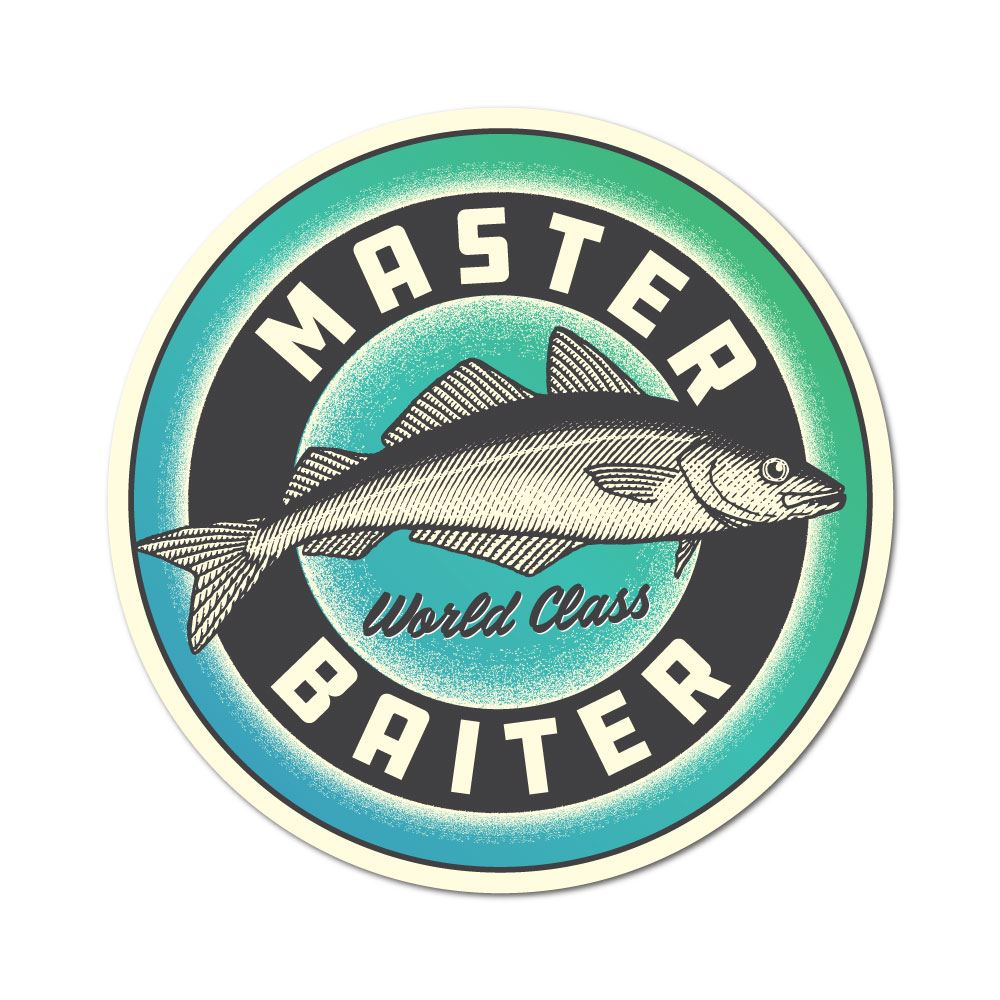 MASTER BAITER FISHING STICKER FOR TACKLE BOX ROD BOAT MANCAVE TOOLBOX ETC