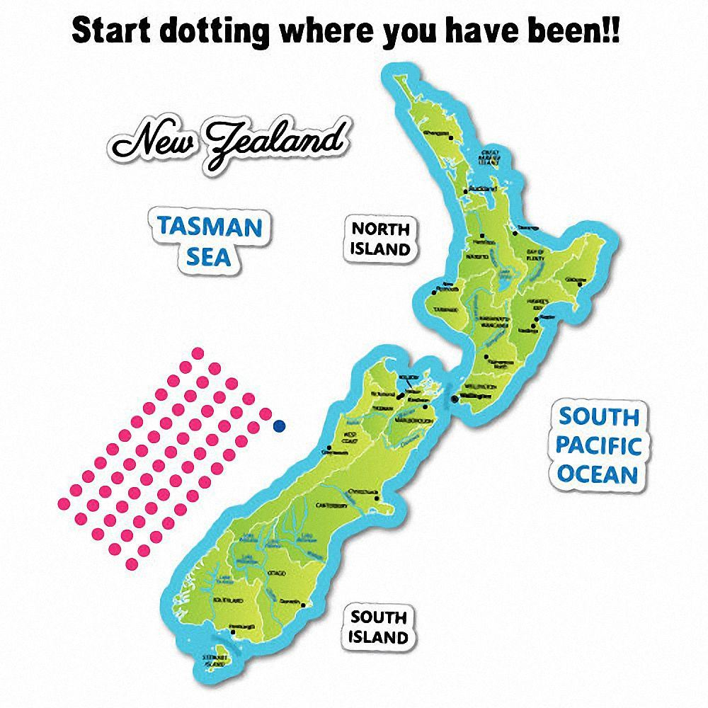 Travel Map New Zealand.New Zealand Travel Map Green Sticker Nz Kiwi Car Fern Decal 7122en
