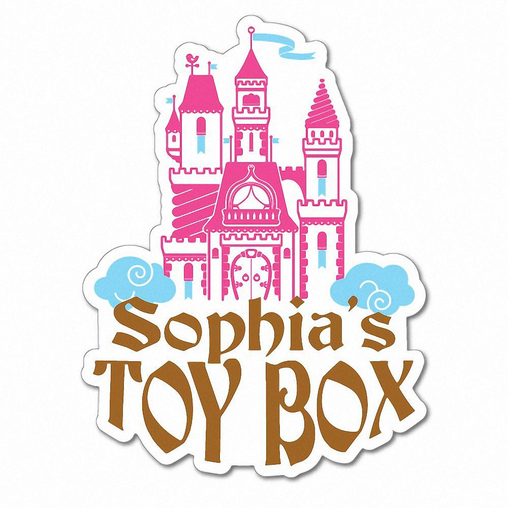 Details about custom kids name toy box castle sticker decal car vinyl personalized text 7