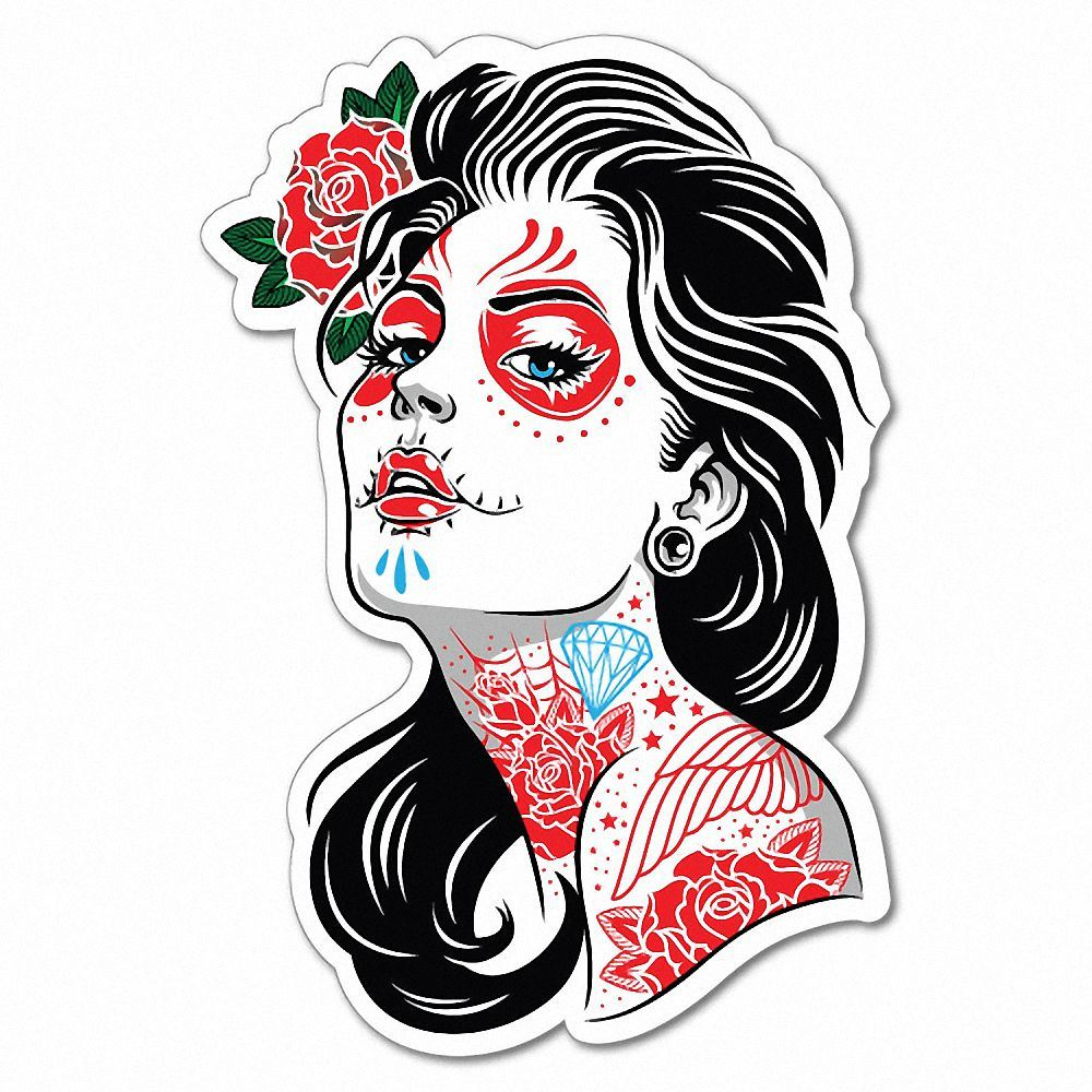Sugar Skull Tattoo Lady Girl Sticker Tattoo Art Sailor 6937ls Ebay Watercolor tattoos incorporate vibrant color, brush strokes, ink drips and dynamic art feed into each of the designs creating body art, not just a tattoo. details about sugar skull tattoo lady girl sticker tattoo art sailor 6937ls