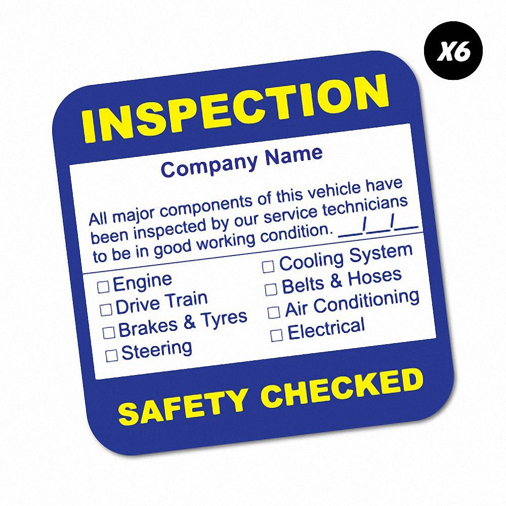 6x custom company name inspection service sticker decal next oil