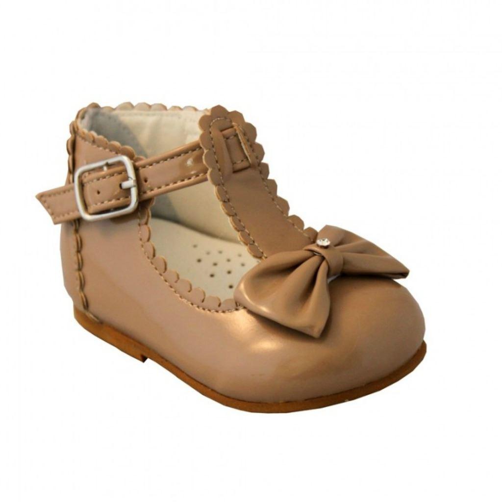 Bebe-Ninas-Zapatos-sevva-Sally-Estilo-Espanol-T-Bar-Arco-Reino-Unido-2-6-Blanco-Rosa-Rojo