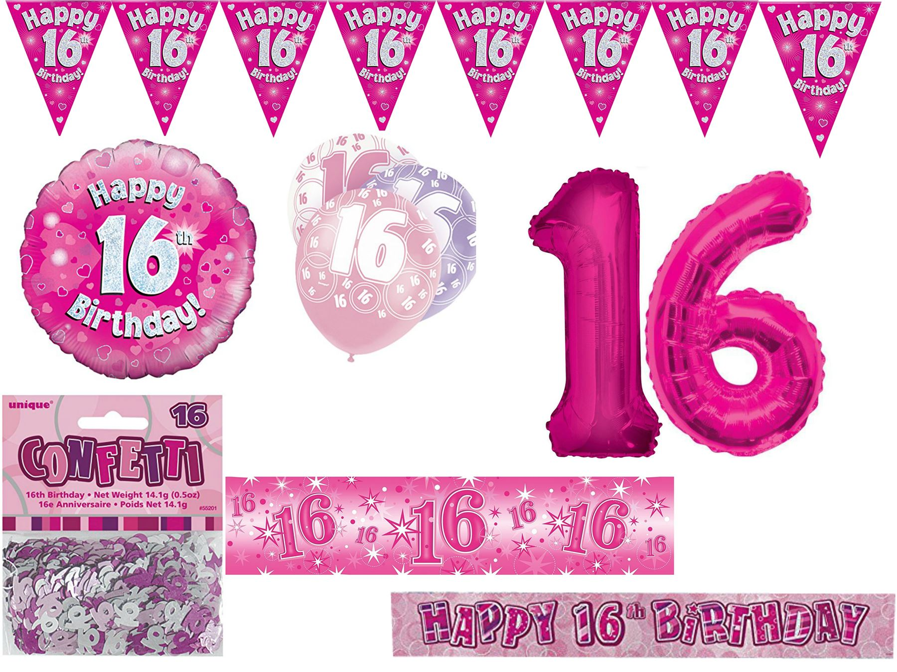 Pink Age 16 Happy 16th Birthday Party Decorations Girls