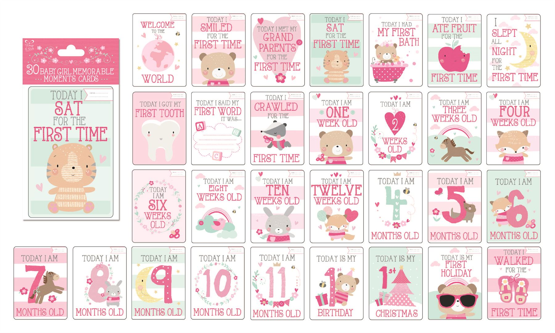 baby memorable moments milestone cards boy girl baby