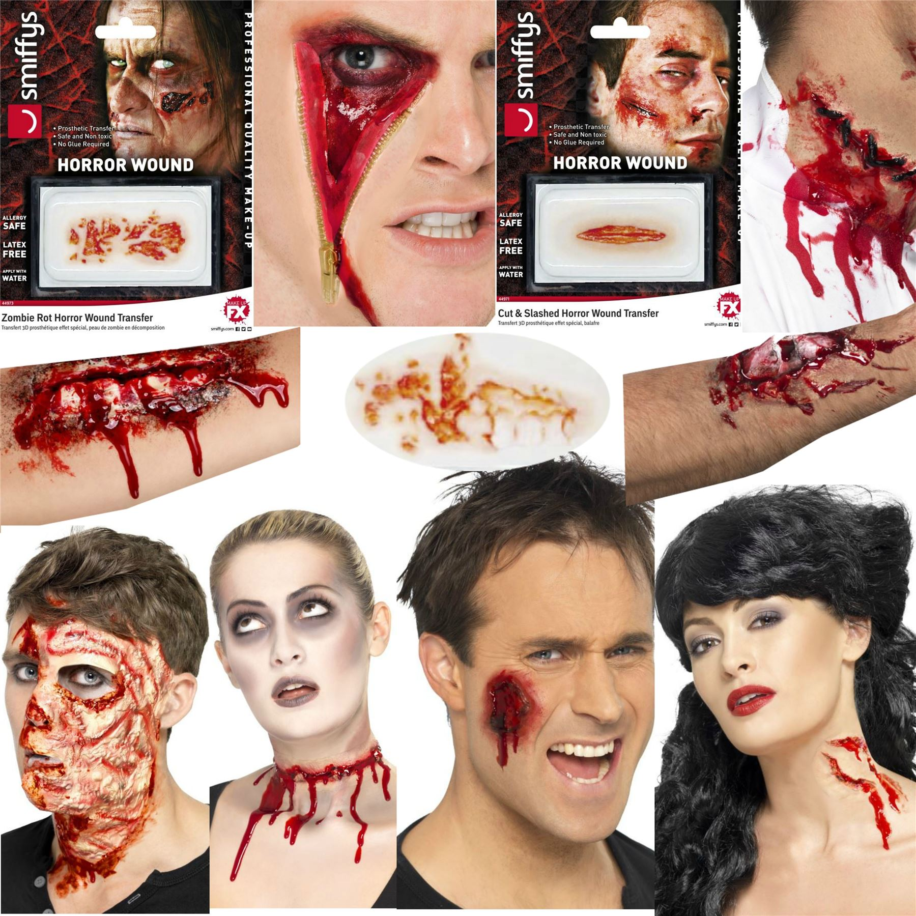 Halloween zombie scars fake stiches scab temporary blood - Zombie scars with glue ...
