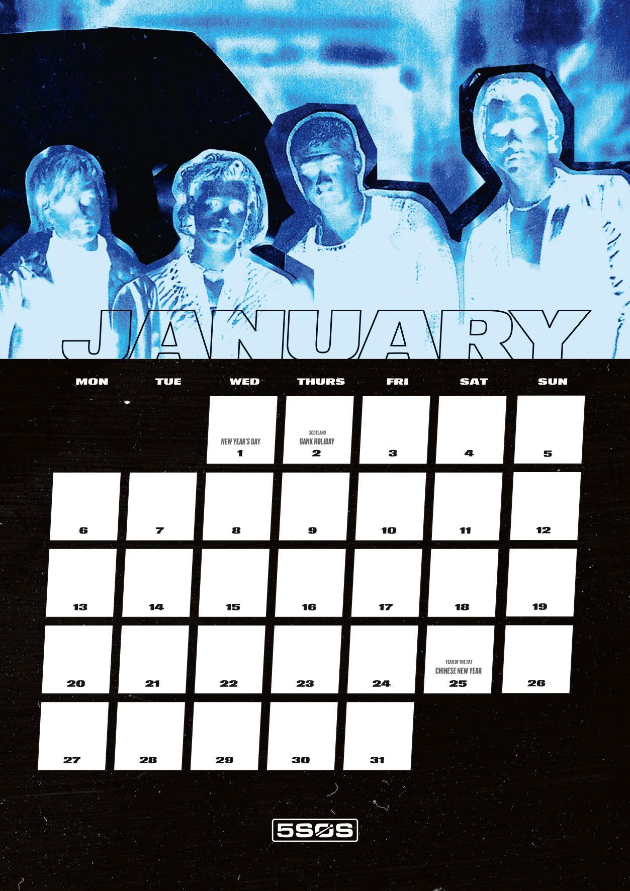 Calendar-5-Seconds-Of-Summer-Official-A3-2020-Pop-Music-Group-Sticker-Gift thumbnail 3