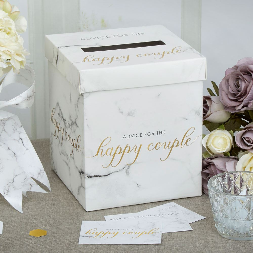 Scripted White Marble Wedding Party Supplies Favours Tableware ...