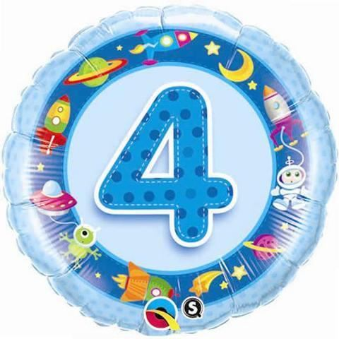 Age 4 Blue Happy Birthday Boys Party Decorations