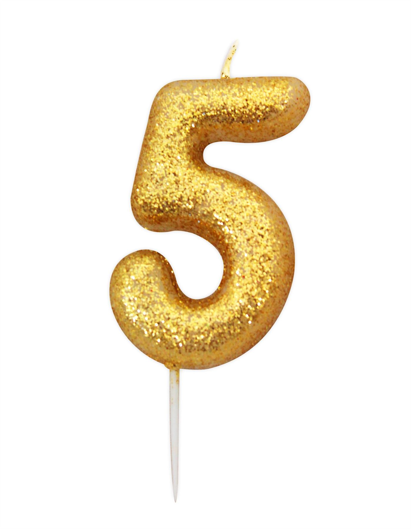 Anniversary House Gold Glitter Numeral MOULDED Cake Candle
