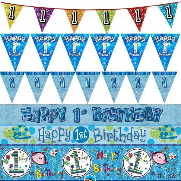 Image Is Loading 1st Birthday Boy Blue Banners Bunting Party Decorations