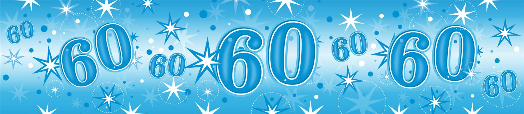 Blue Age 60 Male Happy 60th Birthday Banner