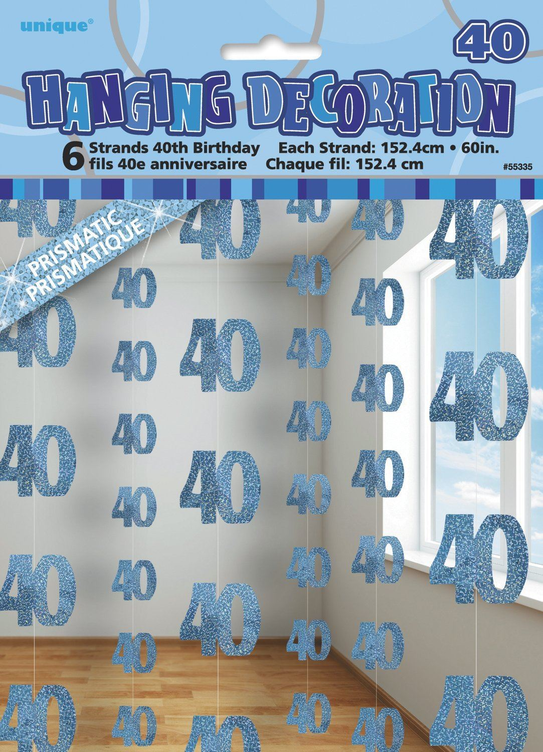 5ft Hanging Glitz Blue 40th Birthday Decorations Pack Of 6 Age 40