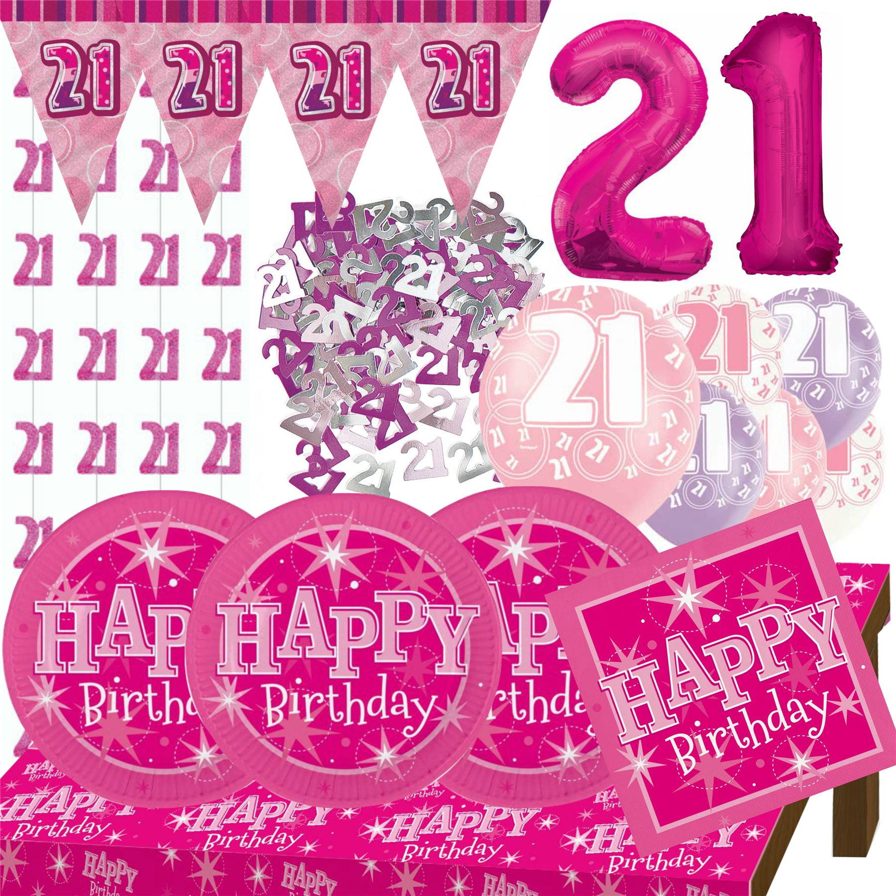 happy 21st birthday Pink Age 21 Female Happy 21st Birthday Banner Confetti Balloons  happy 21st birthday