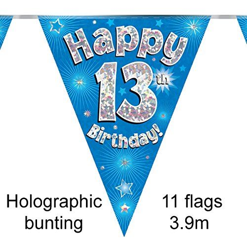 Blue Age 13 Happy 13th Birthday Party Decorations Banners Bunting