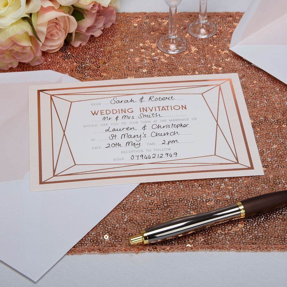 Geo blush rose gold wedding party supplies favours for Decoration rose gold