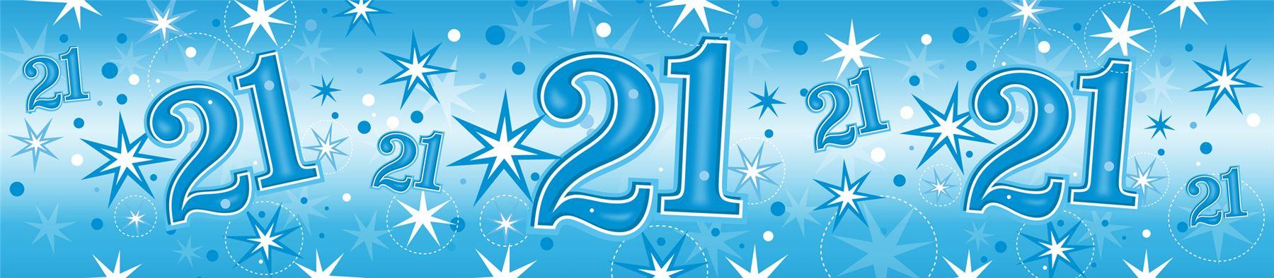 Blue Age 21 Male Happy 21st Birthday Banner Confetti ...