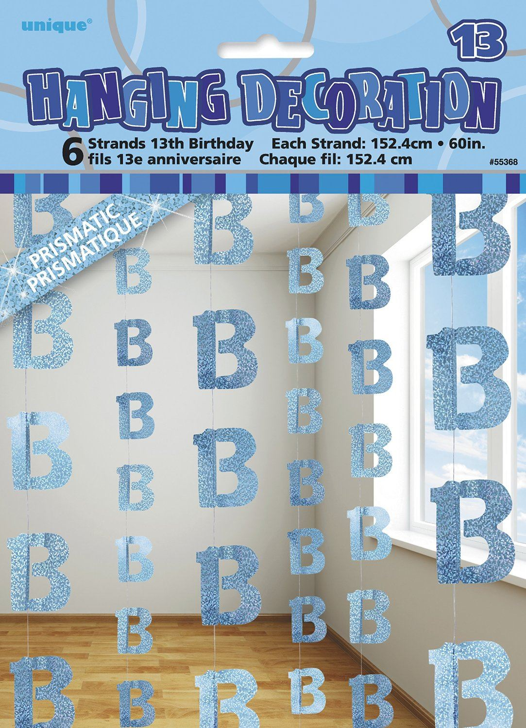 Hanging Decorations X6 Age 13 Boys Birthday Party Glitz Blue About This Product Picture 1 Of 2