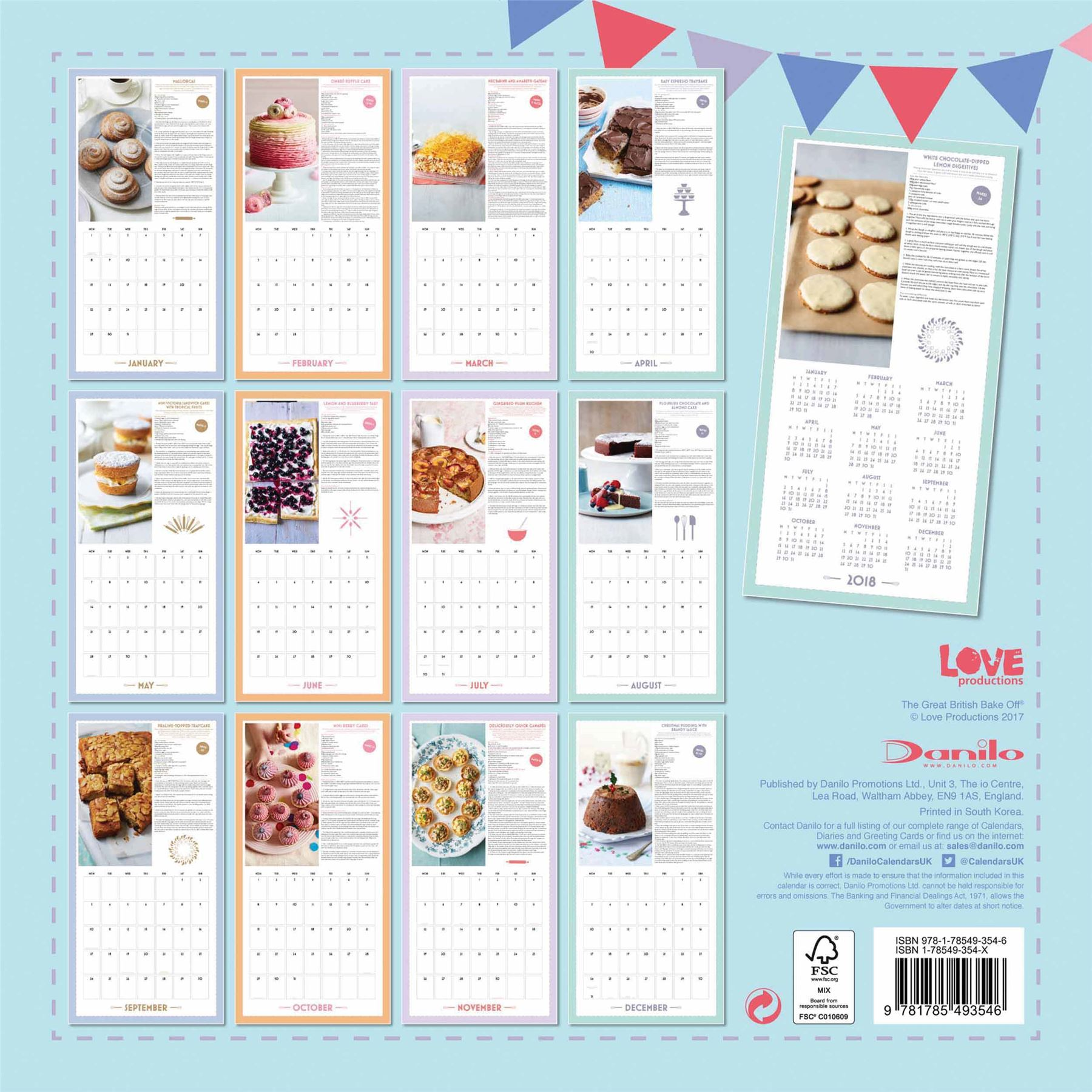 Official 2018 The Great British Bake Off Wall Calendar