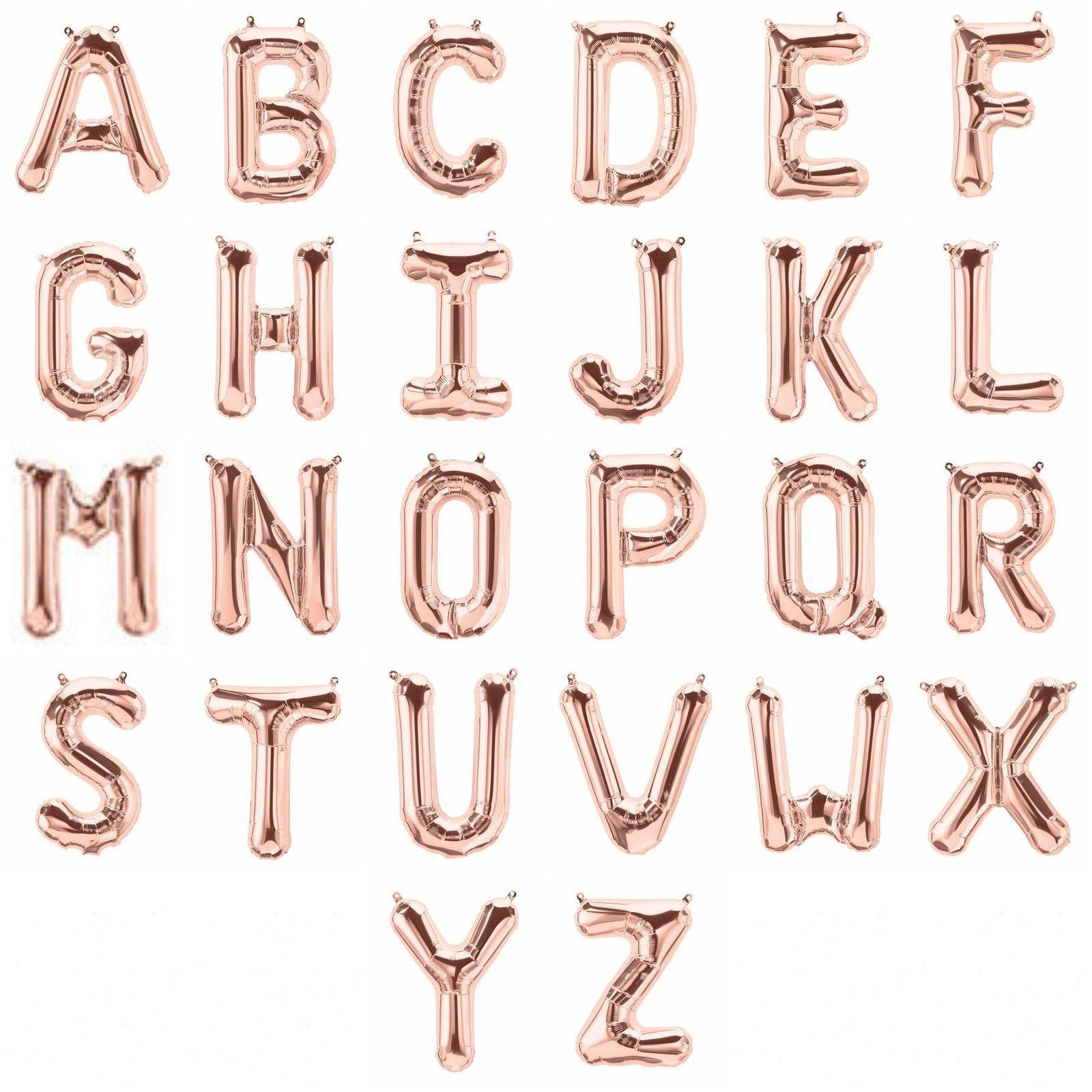 """Alphabet Foil Silvers: 14-34"""" Rose Gold Silver Letter Foil Balloon A-Z Alphabet"""