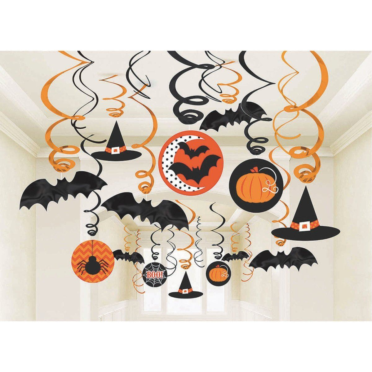 halloween hanging foil swirl party decorations skulls pumpkins - Halloween Hanging Decorations