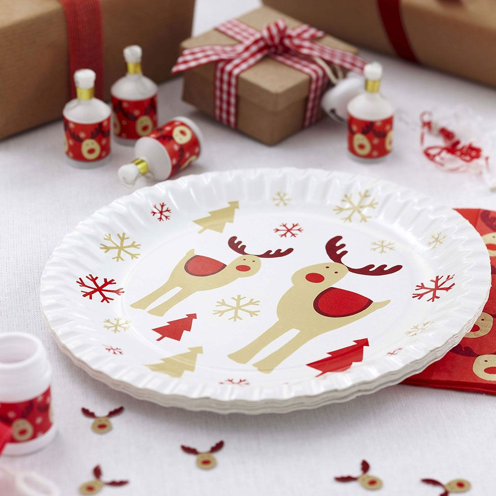 ... Picture 2 of 2 & 8 Rocking Rudolf Christmas Paper Plates Party Tableware Rudolph | eBay