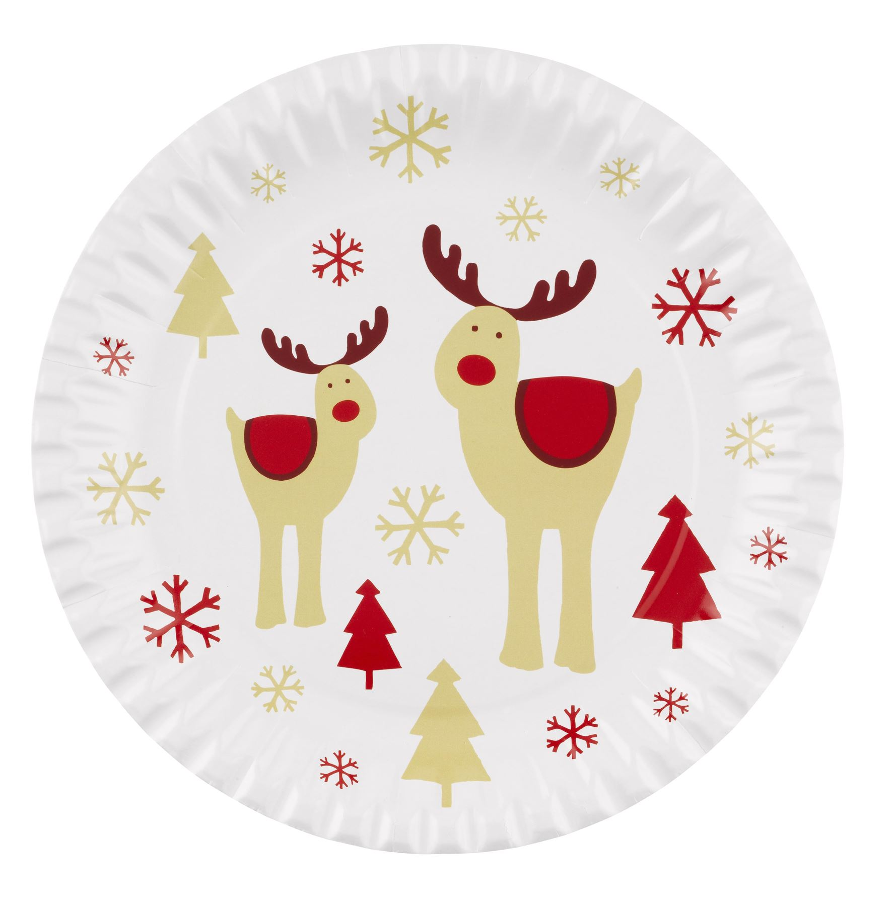 Christmas Party Paper Plates Part - 25: Christmas-Party-Paper-Plates-Tableware-Catering-Rudolf-Snowflake-