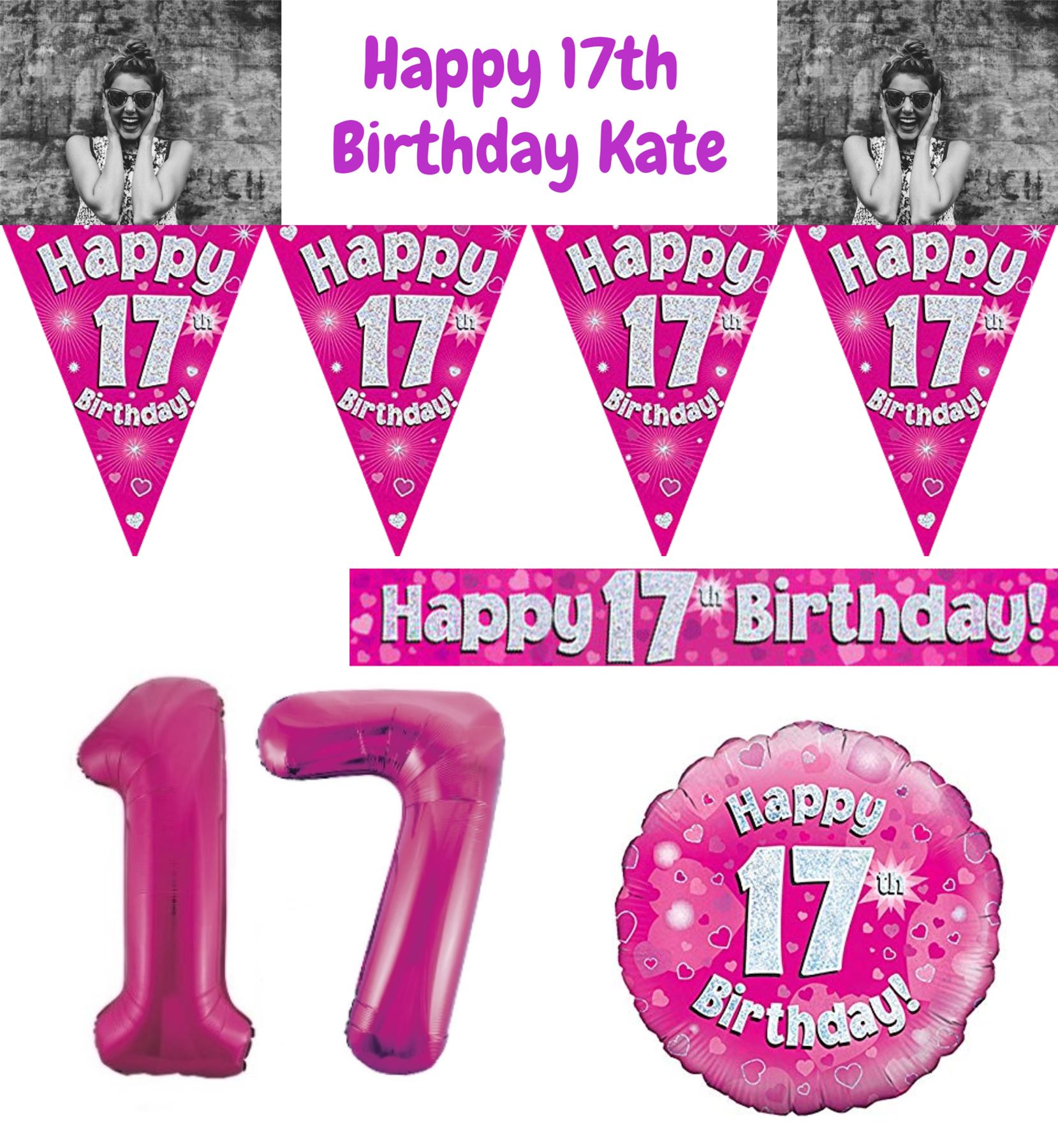 Pink Age 17 Happy 17th Birthday Party Decoration Banner Bunting Girl