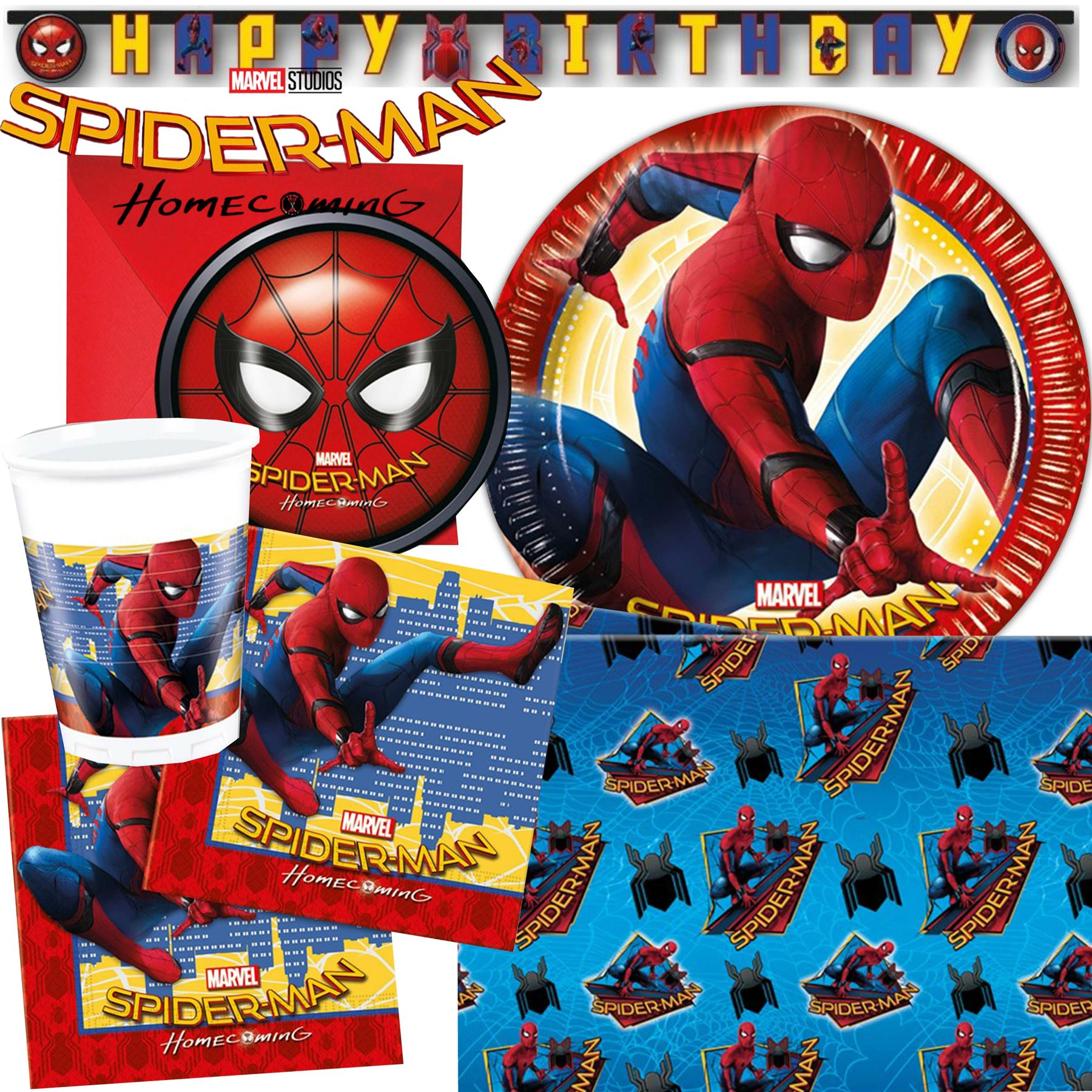 Marvel spiderman homecoming birthday party tableware boys for Spiderman decorations