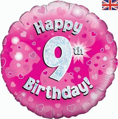 18 Inch Happy 9th Birthday Pink Foil Balloon