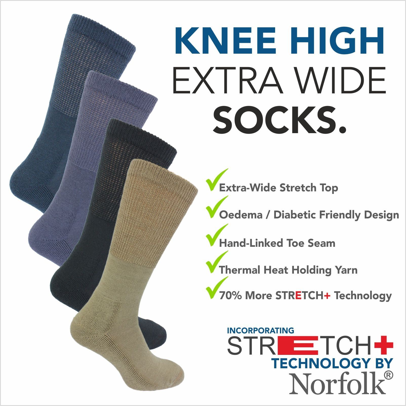 c5aae540f Details about Wool - Oedema Extra Wide Knee High Socks with Stretch+ By  Norfolk - Morgan