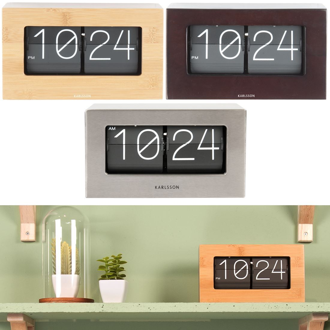 Karlsson flip box home or office 21cm mantel table shelf clock smooth lines minimal design an element of quirk and a touch of retro chic thats what youre getting with this karlsson boxed flip clock amipublicfo Choice Image