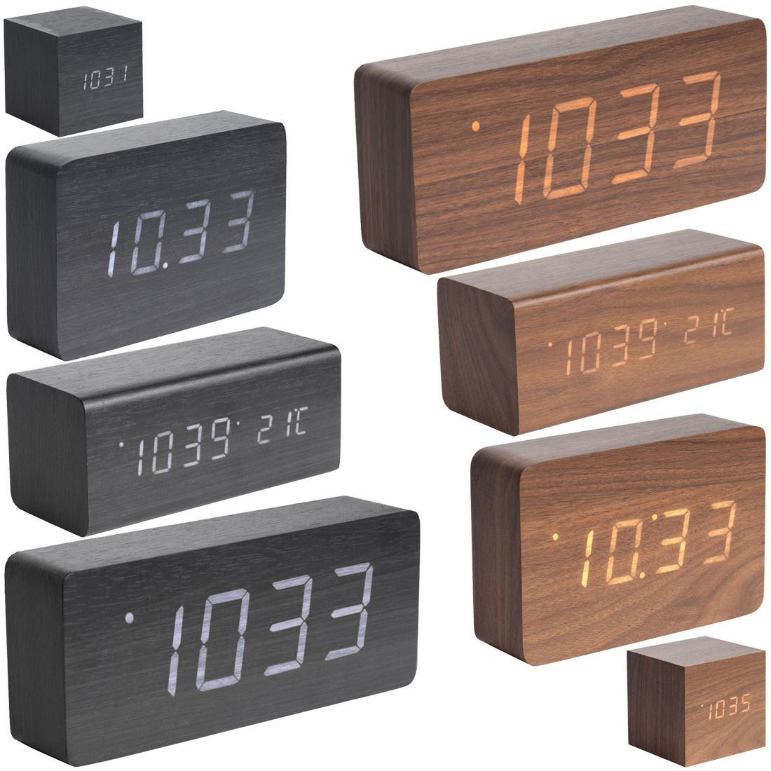 Karlsson wood block alarm clock date and temperature minimalist table clock