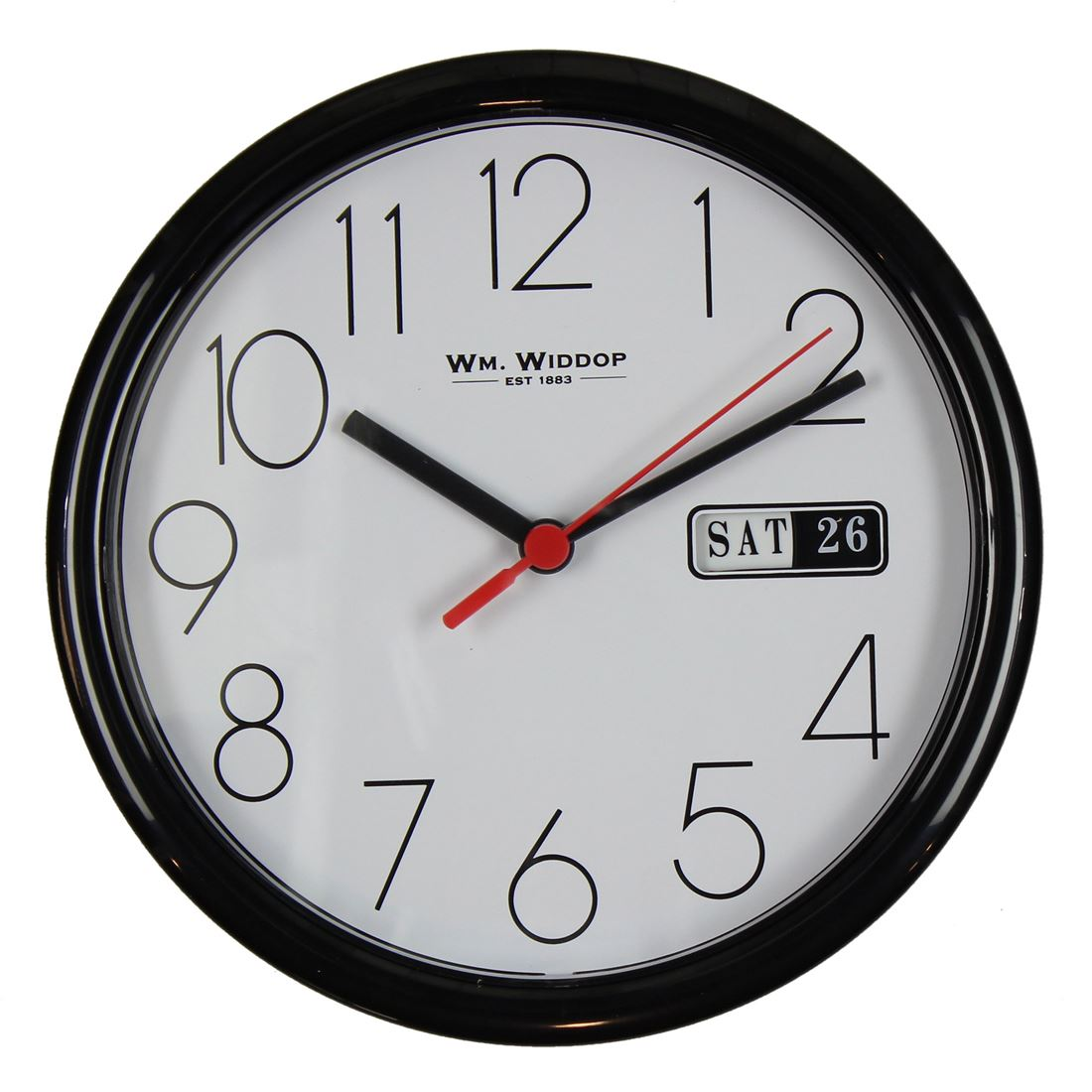 Wmwiddop simple classic 22cm wall clock with day date display an office essential this classic style black clock with white face plus day and date details will keep your day on track black numbers black hour and amipublicfo Images