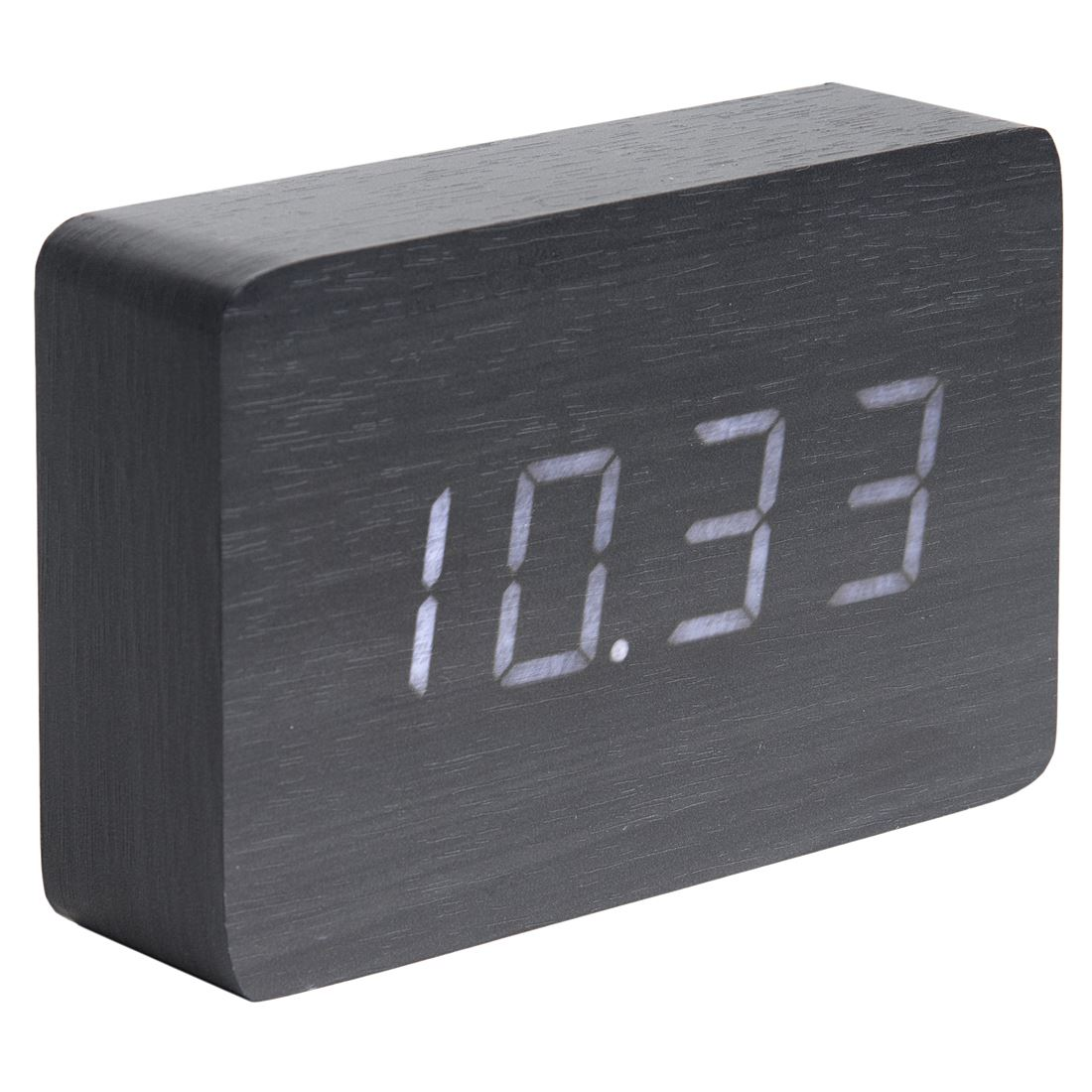 Karlsson Wood Block Alarm Clock Date And Temperature
