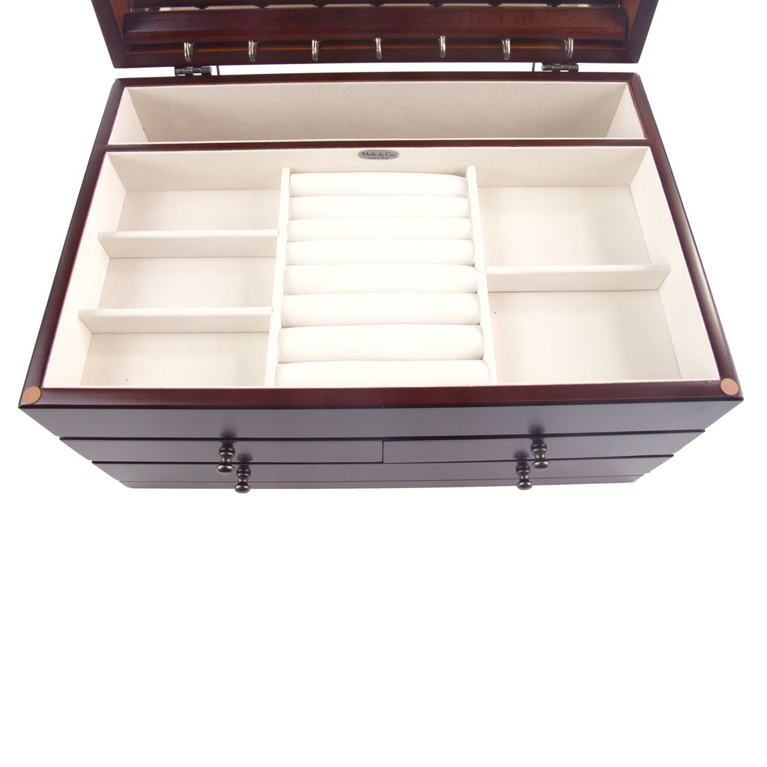 Mele /& Co Ellen or Trudy Wooden Triple Draw Jewellery Box with Large Mirror
