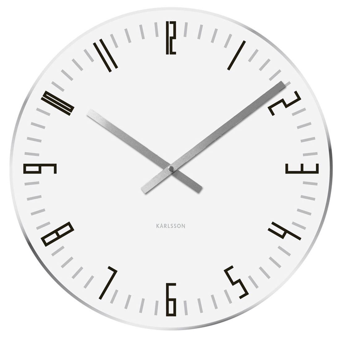 Karlsson slim glass mirror edge 40cm wall clock in black or white karlsson slim glass mirror edge 40cm wall clock amipublicfo Images