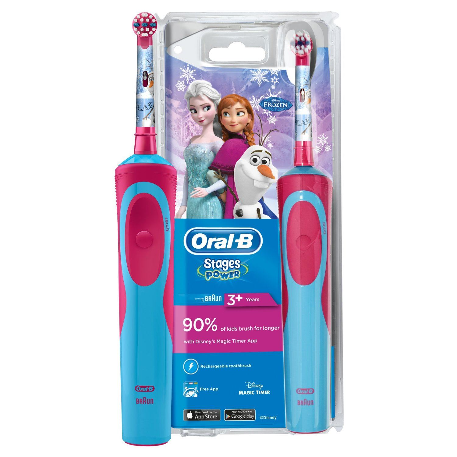 Details about Braun Oral B Stages Power Kids Electric Rechargeable Toothbrush Disney Frozen