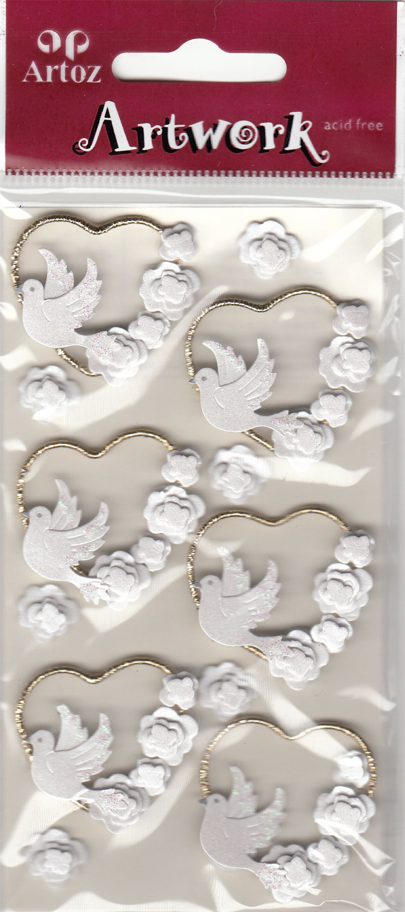 Hearts Doves Flowers Craft Embellishment Wedding Card Stickers