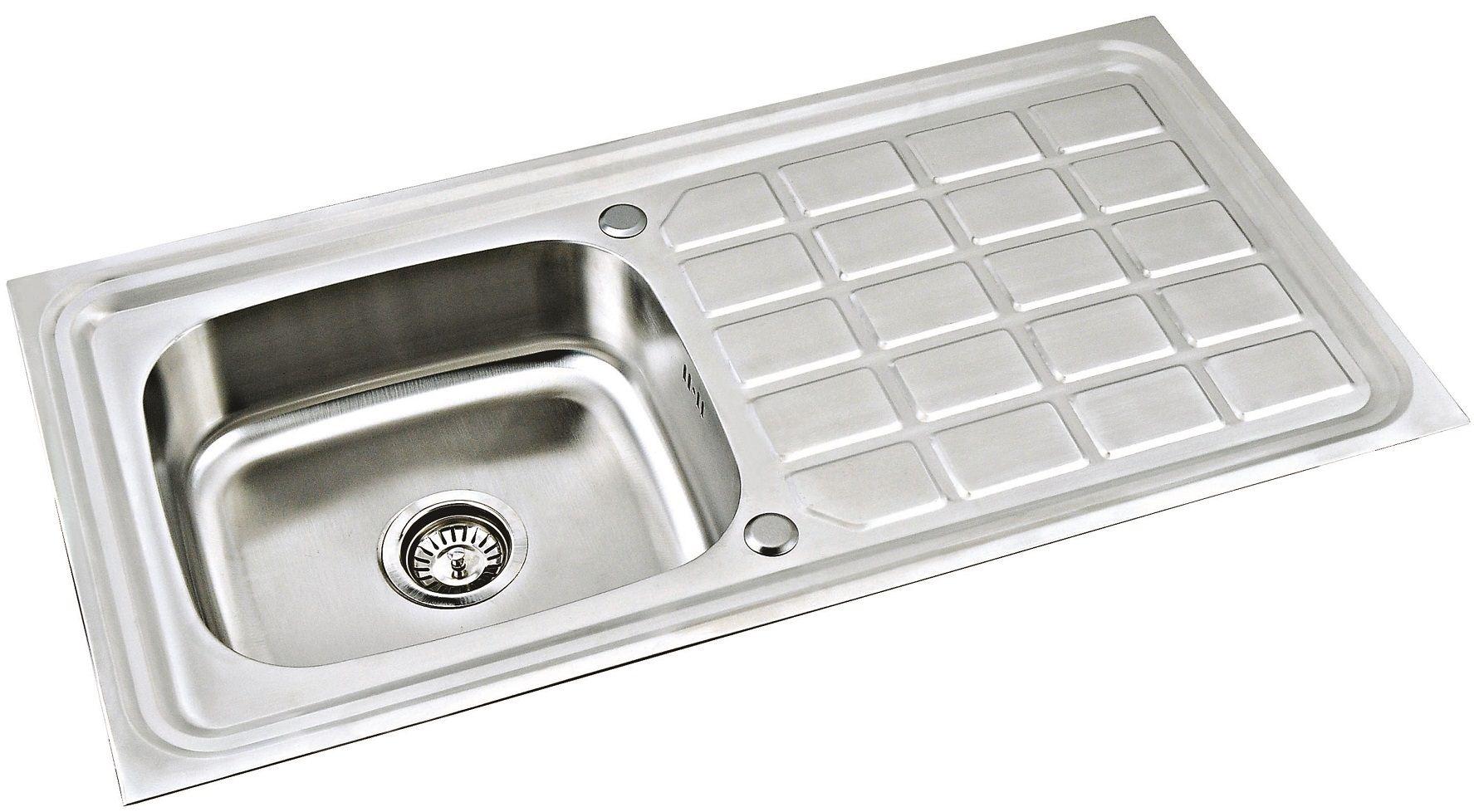 New stainless steel kitchen sink amp waste single 1 0 bowl 1 5 bowl - New Stainless Steel Kitchen Sink Amp Waste Single