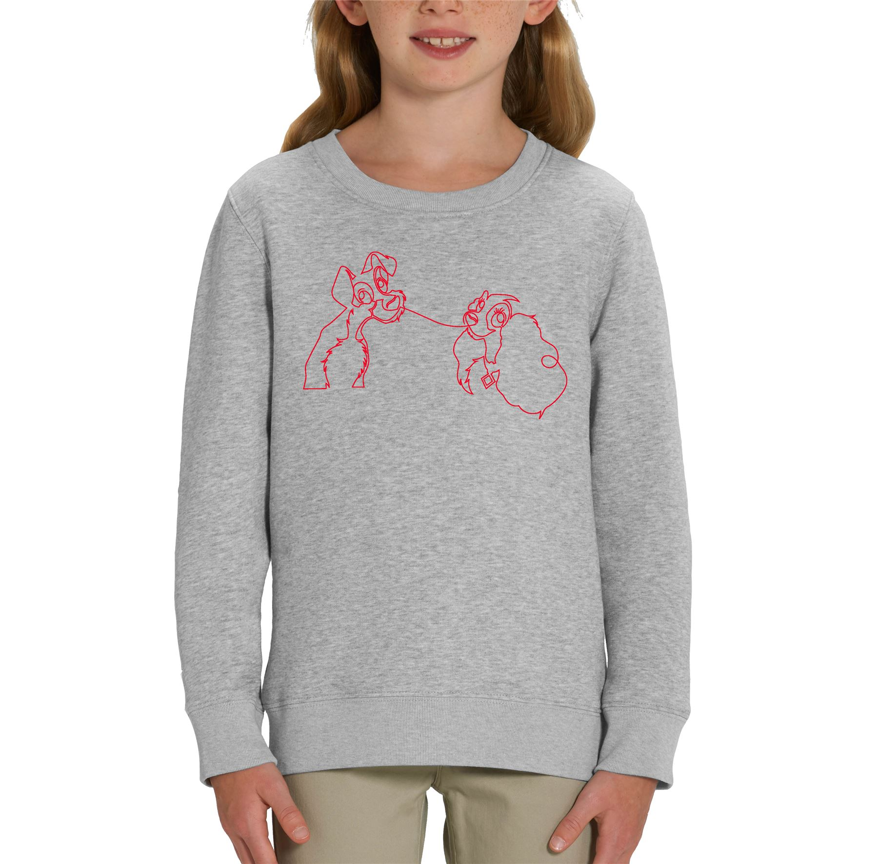 Disney Classic Lady The Tramp Outline Children S Unisex Grey Sweatshirt Ebay