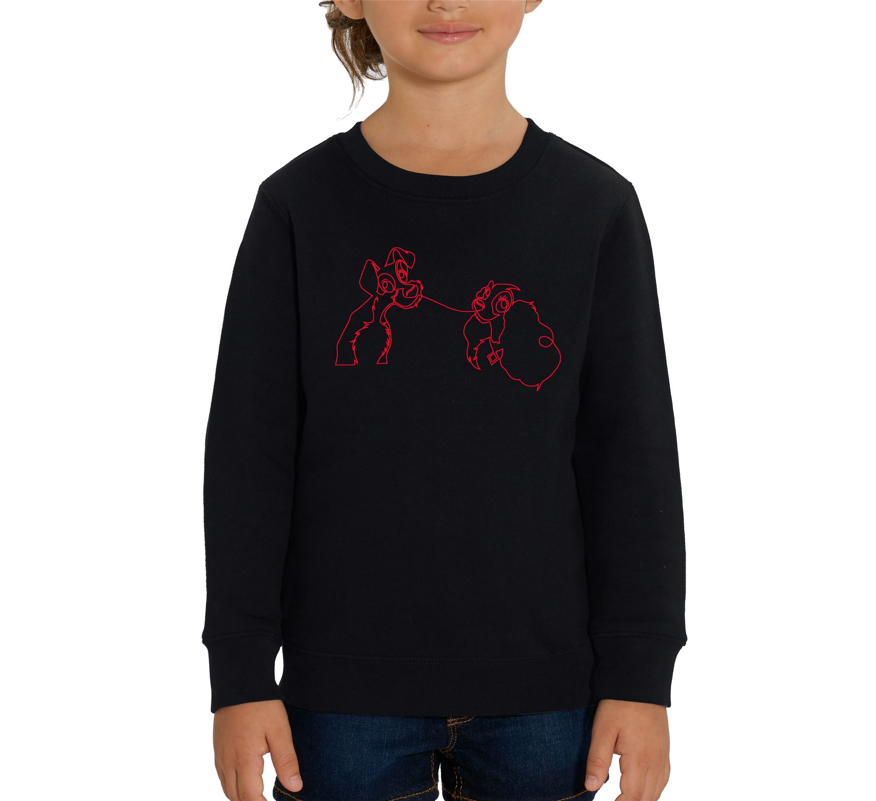 Disney Classic Lady The Tramp Outline Children S Unisex Black Sweatshirt Ebay